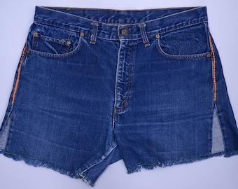 60s Levis 505 BIG E Single Stitch Dark Indigo Denim Hippie Embroidered Black Bar Cut off Jean Shorts W 34