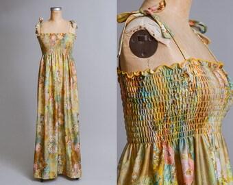 70s Watercolor Dress Earth Tone Art Nouveau Garden Floral Open Back Festival Dress