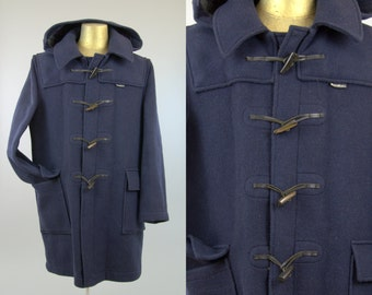 Vintage Gloverall Wool Duffle Coat English Blue Hooded Toggle Coat, 44