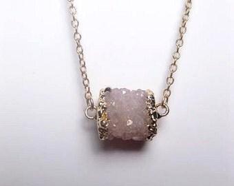 Druzy Necklace Withe 24k Gold Plating Trim - Druzy Roll - Custom Length Chain - Raw Quartz