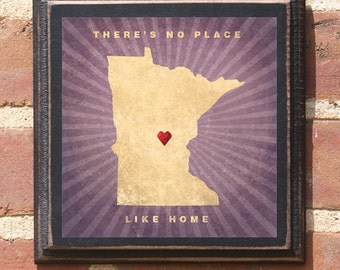 "Minnesota MN ""There's No Place Like Home"" Wall Art Sign Plaque Gift Present Personalized Color Custom Location Minneapolis St paul Antique"