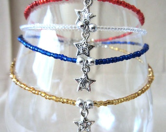 Star Anklet, Double Silver Star & Glass Bead Anklet, Handmade Beaded Jewelry, Glass Bead Anklet, Ankle Bracelet, Patriotic Anklet, Plus Size