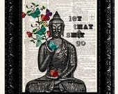 Buddha Butterflies / Let That Sh*t Go / Meditating Buddha Zen Funny Wall Art / Vintage Book Dictionary Art Print / Artwork Poster Print