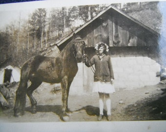 Vintage Snapshot Photo - Farm Girl and Her Horse