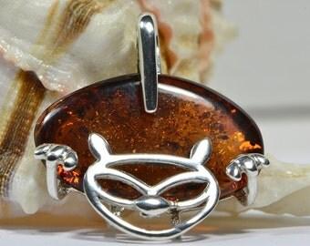 Baltic Amber Pendant Sterling Silver Pendant Gemstone Jewelry Amber Pendant Amber Jewelry