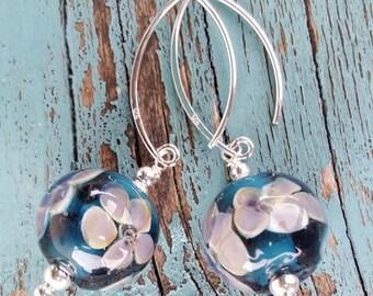 Glass & Silver Earrings.  Lampwork Earrings  SRAJD FHFteam