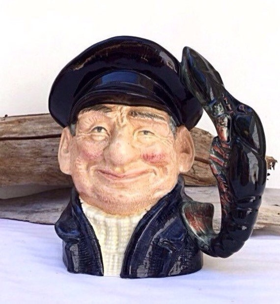 Large Toby Mug Royal Doulton Stein. Lobster Man 1960s mugs.Barware. Beer Mug.Ocean Captain.