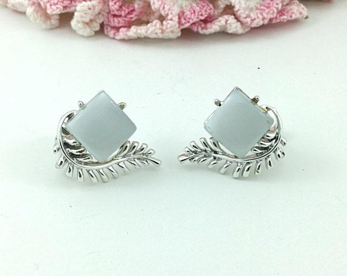 Vintage Coro Pegasus Earrings, Geometrical light grey Signed Coro Thermoset Earrings. Vintage Coro Jewelry, grey thermoset earrings.