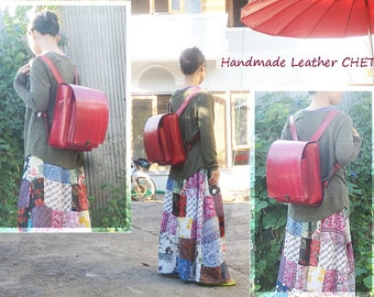 RANDOSERU Japanese style backpack for kids/ women/ men/ made of saddle leather color red