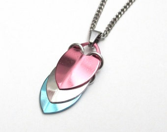 Transgender pride pendant necklace, chainmail scale pendant, trans pride jewelry, pink, white, light blue