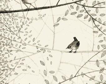 Wrens Giclee Print A4