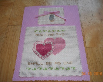 cross stitch card WEDDING MARRIAGE anniversay And two shall be as one with Love charm