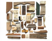 nice lot of small, salvaged wood, bits and pieces, ruler parts, wood shapes, from Elizabeth Rosen