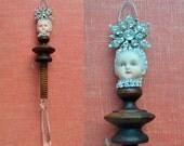 Snowflake art doll, mixed media assemblage, ice princess, an original doll head ornament by Elizabeth Rosen