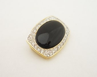 Vintage Brooch, Vintage Brooch with Faux Onyx and Clear Rhinestones, Cold Tone Vintage Brooch