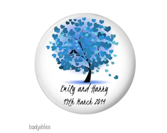 Wedding favour -- 20 personalised fridge magnet wedding favors  - Heart Tree
