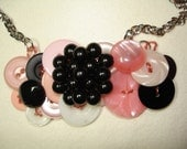 Button Necklace - VINTAGE button jewelry -PINK buttons- Black buttons - White buttons - BERRY button