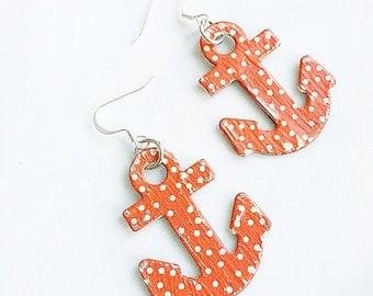 Red Anchor Earrings Polka Dot Anchors Away Beach Summer Earrings
