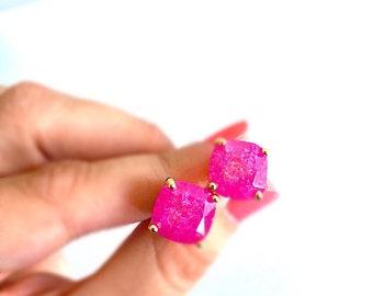 Hot Pink Square Stud Earrings