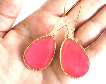 Large Hot Pink Teardrop Statement Earrings Hot Pink and Gold