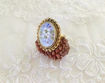 Vintage porcelain Ring, Adjustable Size, Oval Art Deco, Gold Tone, Floral Design, Item No. B299