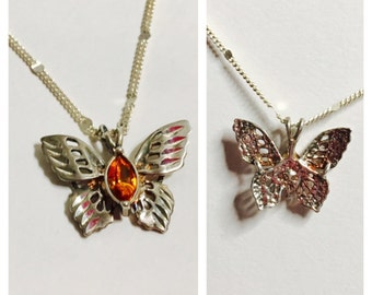 Vintage avon silver butterfly Pendant, large Amber stone, Item No. S071