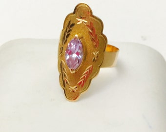 February Birthstone Amethyst Ring Size 8, Vintage 14K Gold, Clearance Sale, Item No. S434