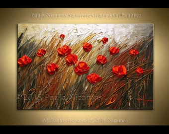 Thick texture painting Poppies ABSTRACT flower Palette Knife Texture floral art Nizamas wall decor