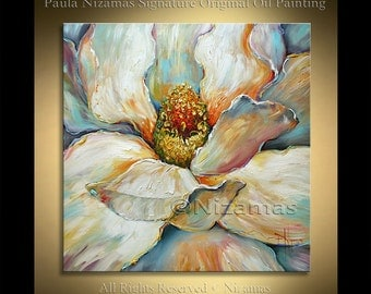 Acrylic and Oil large Magnolia Painting on canvas PALETTE KNIFE original extra heavy texture art ready to hang By Paula Nizamas