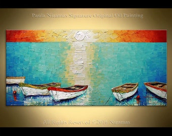 Painting Boats ORIGINAL Abstract  Oil heavy pallete knife texture hand painted by Paula Ready to Hang wall decor