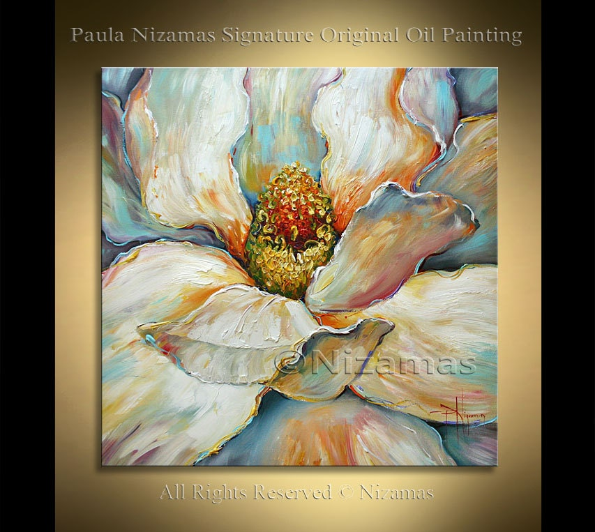 Acrylic and oil large magnolia painting on canvas palette for 1 day paint