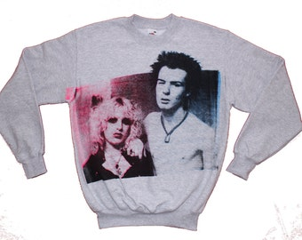 "Sid Vicious Punk Jumper  - Sid And Nancy - Screenprint Sweater - suicide lovers -  nancy spungen - Small 36"" chest"