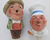 Vintage breweriana German porcelain bisque handpainted bottle stopper pourer barware moustache man hat cook