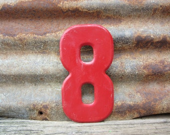Number Sign Vintage Metal #8 Sign Eight Sign 7 1/2 Inch Distressed Red Paint Marquee Sign Wall Art vtg Alphabet Letter Advertising Old