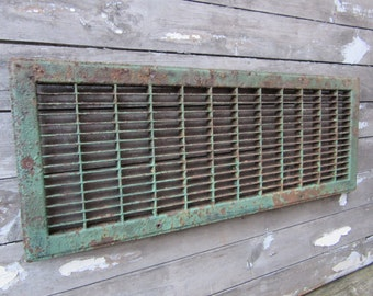 Antique Industrial Grate Heating Duct Cover Ventilation Air Return Metal Painted Chipping Green Paint Vintage Rusted Rustic Old Primitive