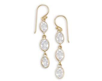 14 Karat Gold Plated over Sterling Silver CZ Long Dangle Earrings