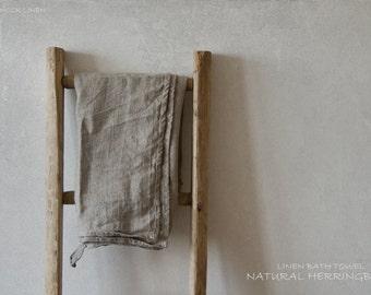 NATURAL HERRINGBONE LINEN bath towel