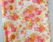 Vintage 1960s Cannon Royal Family Full Size Orange Pink Floral Flat Sheet Extra Wide 100% Cotton