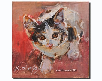 "Western cat  portrait Original Oil Panel Painting 6x6"""