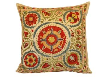 Handmade Suzani Silk Pillow Cover EMP901, Suzani Pillow, Uzbek Suzani, Suzani Throw, Suzani, Decorative pillows, Accent pillows