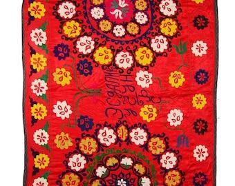 Suzani Wall Hanging, Handmade Vintage Suzani NL1411, Uzbek Suzani, Suzani Blanket, Suzani Tapestry, Suzani Bedding, Wall Art, Suzani Throw