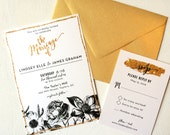 Gold Glitter Black and White Wedding Invitation, with a beautiful floral design and modern calligraphy