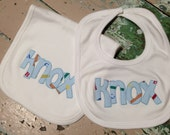 Appliqued Bib and Burp Set Appliqued with Name Baby Boy Baby Girl Infants Gift