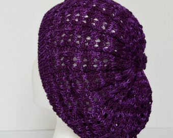 Slouchy Tam, Slouchy Beanie, Slouchy Beret, Purple Lacy Hat, Open Knit Hat, Purple Summer Slouch Hat, Women's Fashion Hat, Chemo Cap