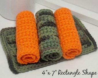 Ecofriendly Kitchen Cloths, Camouflage Dishcloth, Hand Crochet Dishcloths, Dish Rag, Hunters Orange Dishcloths, American Cotton, Set of 4