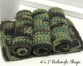 Camouflage Cotton Dishcloths - Eco Friendly Dishcloths - American Grown Cotton: Set of 4 - Gifts Under 15