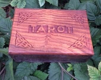 Hand Carved Wood Tarot Box