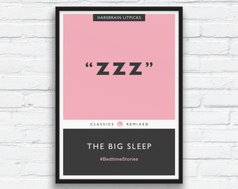 ZZZ, The Big Sleep Penguin Classics Parody Print, Candy Pink, Charcoal black art, Book Cover, Bedroom wall art, ZZZ Art, Printable Art