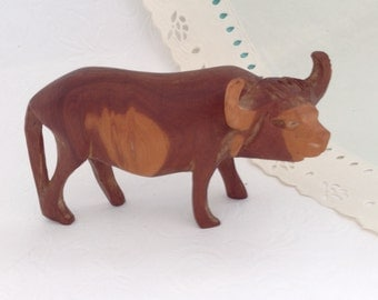 Vintage hand carved wood - Ox - Water Buffalo -  collectible - Home Decor - Buffalo Sculpture - small figurine - solid hard wood - 70s