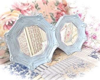 Shabby Summer Skies Blue Distressed Ornate Scalloped Geometric Hexagonal Small Wall Mirror Cottage Chic Set of 2 READY TO SHIP